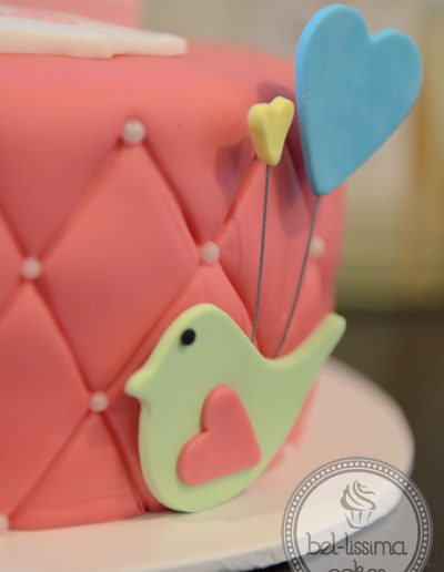 Detail of pink birthday cake