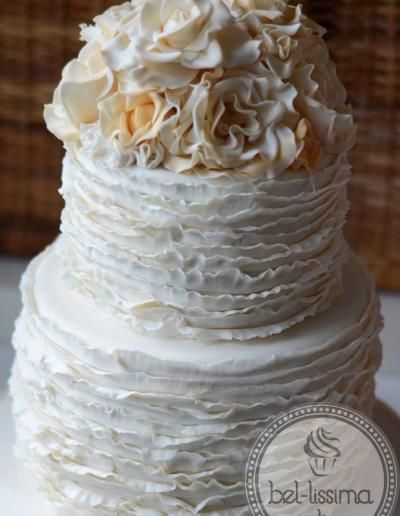 Fondant Ruffles & Roses Wedding Cake