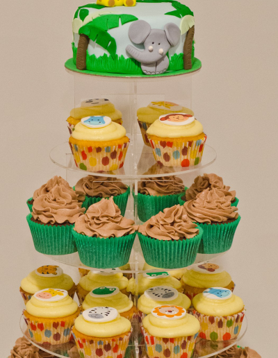 Jungle Animal Birthday Cake with Cupcakes