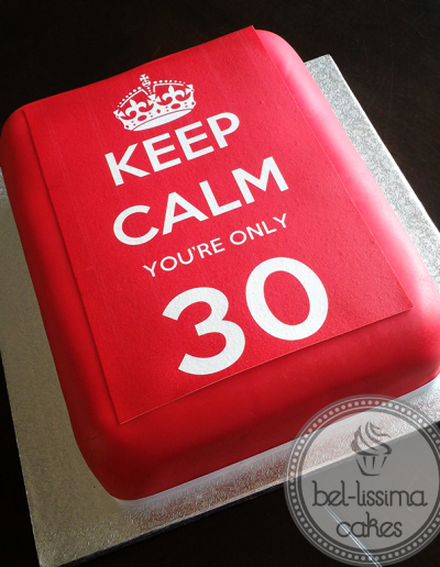 Keep Calm Birthday Cake with edible image