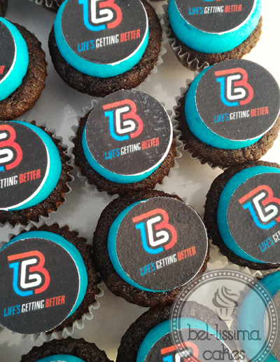 LGB fitness cupcakes with edible images