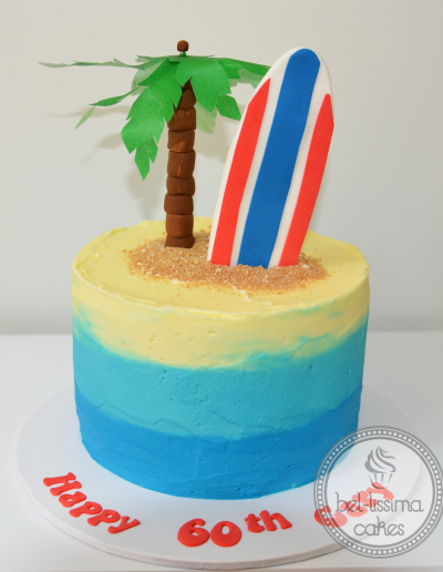 Palm Tree Island Birthday Cake with Surfboard