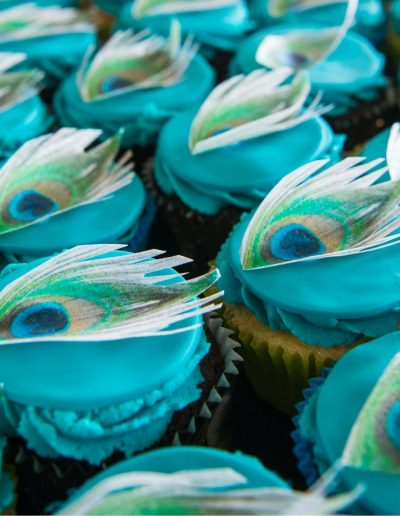 Peacock Cupcakes with edible images