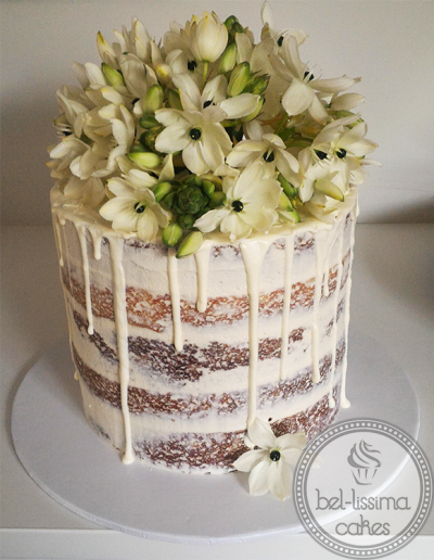 Semi Naked Floral Drip Cake