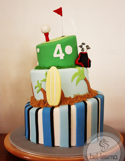 Sports Themes 3 tier Birthday Cake