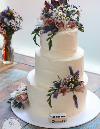 Wedding Cake with Native Flowers